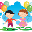 Stock Vector: Children With Balloon