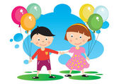 Children With A Balloon — Stock Vector