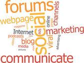 Marketing social nuage de mot — Vecteur