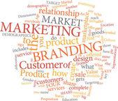 Di marketing, parola, nuvola — Vettoriale Stock