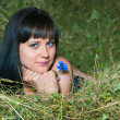 The girl on hay — Stock Photo