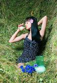 The girl on hay — Stock Photo