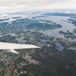 Norwegian fjords seen from airplane - Stock Photo