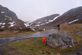Norwegian road during bad weather — Stock Photo
