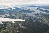 Norwegian fjords seen from airplane — Stock Photo