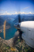 Airplane lake Lugano view — Stock Photo