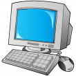 Cartoon desktop computer — Stock Vector