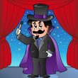Cartoon magician on circus stage - Stok Vektör