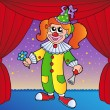 Clown girl on circus stage 1 — Stock Vector