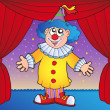 Clown on circus stage 1 — Stock Vector