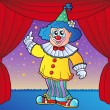Clown on circus stage 2 — Stock Vector