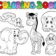 Stock Vector: Coloring book with Africanimals