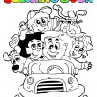 Coloring book with family in car — Stock Vector