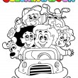 Coloring book with family in car - Stock Vector