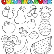 Coloring book with fruits images — Stock Vector #5423966