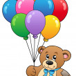 Cute teddy bear holding balloons - Stock Vector