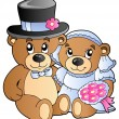 Stock Vector: Wedding teddy bears