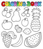 Coloring book with fruits images — Cтоковый вектор