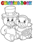 Coloring book with wedding bears — Stock Vector