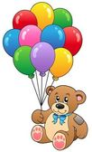 Cute teddy bear holding balloons — Stock Vector