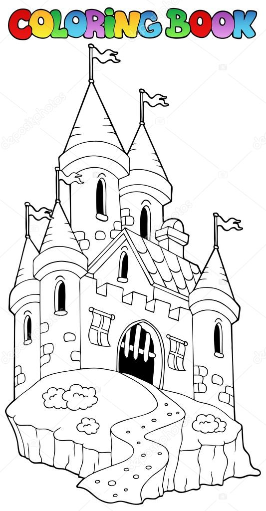 Coloring book with castle 1 - vector illustration. — Stock Vector #5423953