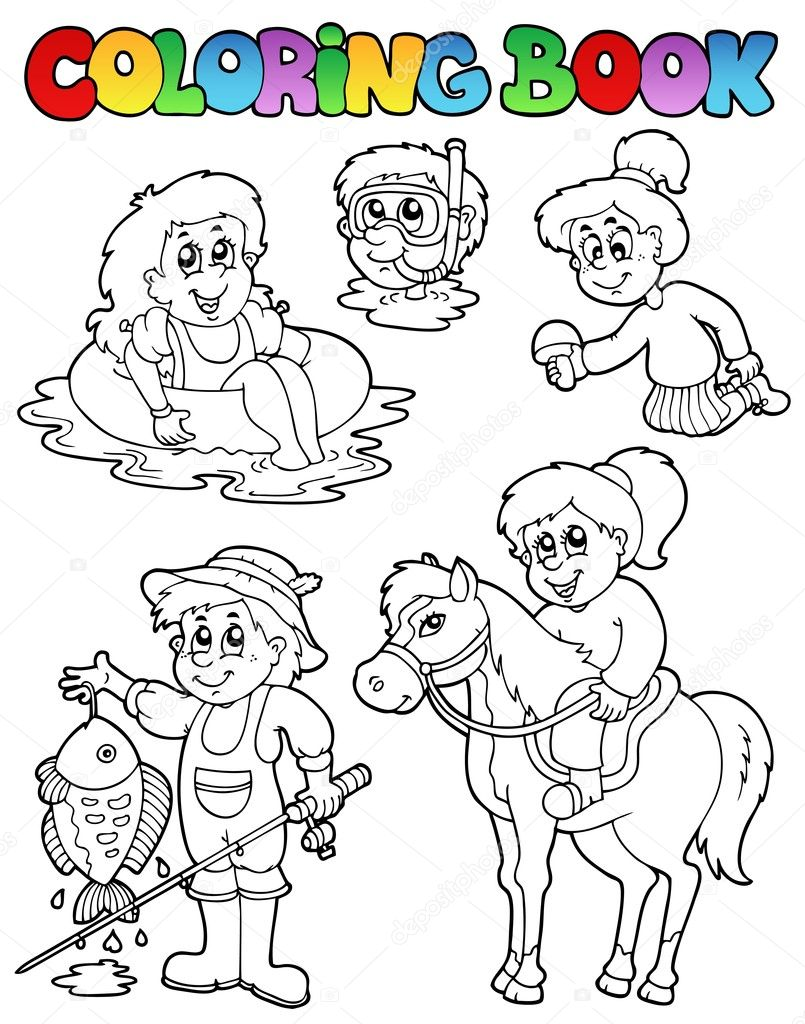 Coloring book with kids activities - vector illustration. — Stock Vector #5423970