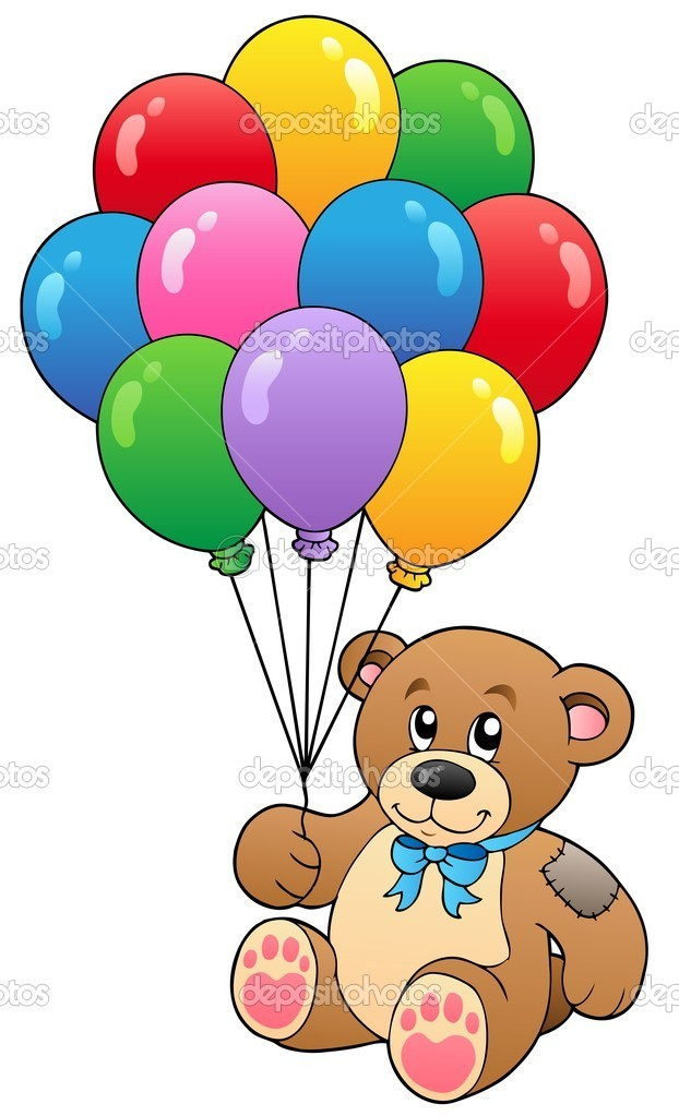 Cute teddy bear holding balloons - vector illustration.  Stock Vector #5423976