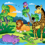 afrikanska landskap med djur 1 — Stockvektor