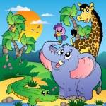 afrikanska landskap med djur 2 — Stockvektor