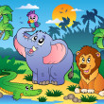 afrikanska landskap med djur 4 — Stockvektor