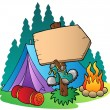 Stock Vector: Camping wooden sign near tent