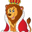 Cartoon lion in king outfit — Vector de stock #5515084
