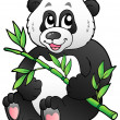 Cartoon panda eating bamboo - Stock Vector