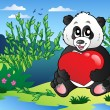 Cartoon panda holding heart outdoor — Stock Vector