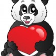Cartoon panda holding red heart — Stock Vector