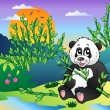 Cartoon panda in bamboo forest — Stock Vector