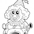 Coloring book with clown in car — Stock Vector #5515175