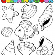 Stock Vector: Coloring book with seashells
