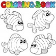 Coloring book with striped fishes — Stock Vector