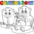 Coloring book with two pandas — Imagen vectorial