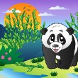 Cute small panda in bamboo forest — Imagen vectorial