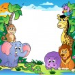 Vector de stock : Frame with tropical animals 2