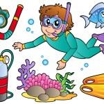 Scuba diving collection — Stock Vector