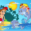 Summer beach with kids and dolphins — Stockvector #5515471