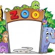 Stock Vector: Zoo entrance with various animals