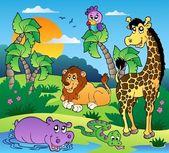 非洲风光与动物 1 — 图库矢量图片