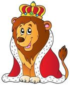 Cartoon lion in king outfit — Stockvector
