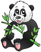 Cartoon panda eating bamboo — Stock Vector