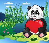 握着心室外的卡通熊猫 — 图库矢量图片