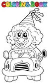 Coloring book with clown in car — Stock Vector